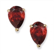 9ct Gold Pear Cut Garnet Stud Earrings 0.84g